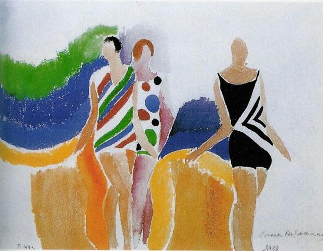 Les filles en maillot de bain. Acuarela sobre papel. 1928