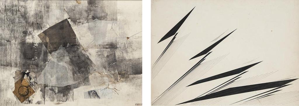 Tinta y grafito sobre cartulina - COLECCIón SIKANDER y HYDARI a la izquierda. Collage y tinta a la derecha.