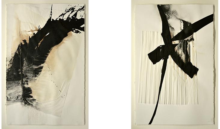 Obras en papel de Asun Valet, pintora, pintora abstracta española, Zaragoza, Exposición en la galería La Carbonería en 2018