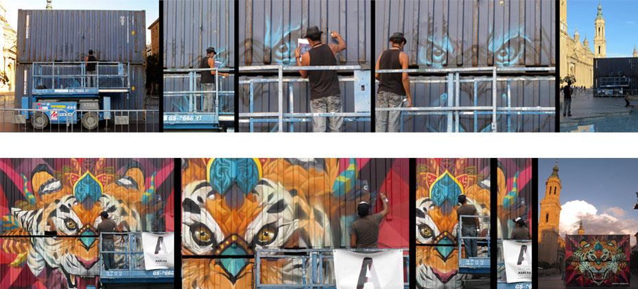 Farid Rueda, artista urbano de Asalto 2015. Intervención en dos containers en la Plaza del Pilar.