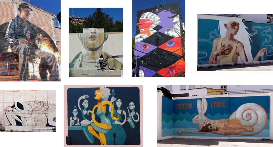 De izquierda a derecha y de arriba abajo estos son los artistas que intervinieron en los barrios de San José, Jesús y Arrabal. Sebas Velasco, CaseMaclaim, Iker Muro, Noe, Zésar y Alfalfa.