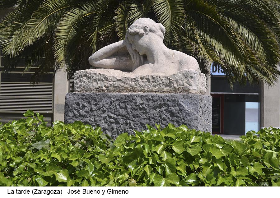 La tarde, Zaragoza. Escultura pública de José Bueno y Gimeno