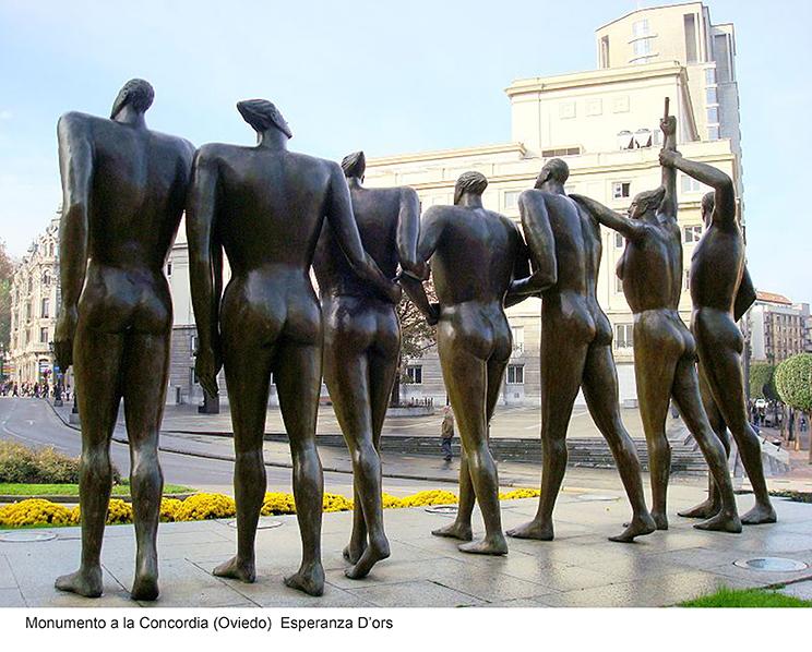 Escultura pública,Monumento a la Concordia, Oviedo, de Esperanza D'ors