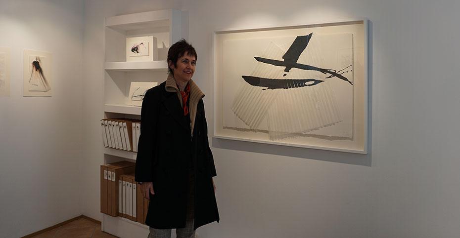 Obra en papel de Asun Valet, pintora, pintora abstracta española, Zaragoza, Exposición en la galería La Carbonería en 2018